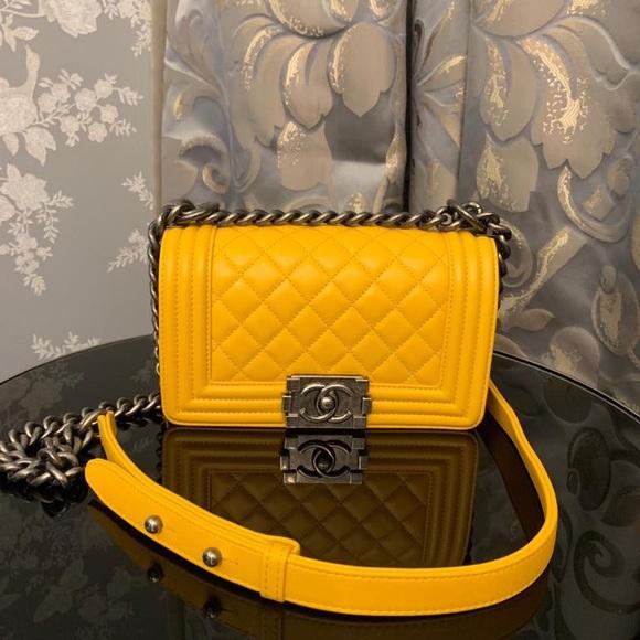 CHANEL Handbags - SOLD❌Chanel Small Yellow Le Boy Bag